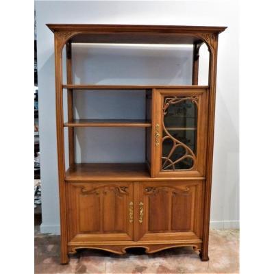 Small Art Nouveau Walnut Display Shelf Cabinet