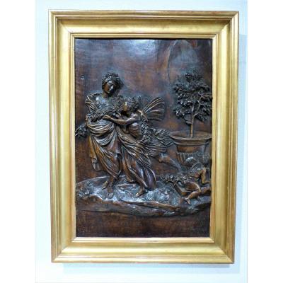 Zephyr And Flora Mythology Carved Walnut Panel 66 X 45 Cm Golden Frame