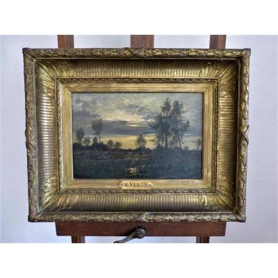 Alexandre René Veron Landscape Barbizon Follower Of Daubigny
