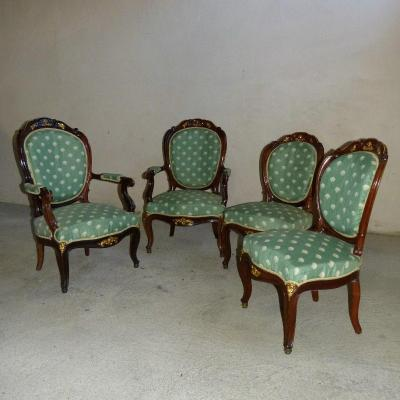 Salon In Mahogany And Gilded Bronzes Napoleon III Attributed To Jeanselme