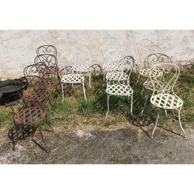 Series Of 13 Garden Chairs 19 Eme With Staples