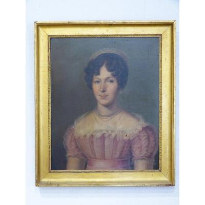 Portrait  Féminin 19ème, Elégante Au Diadème Victoire Rocque