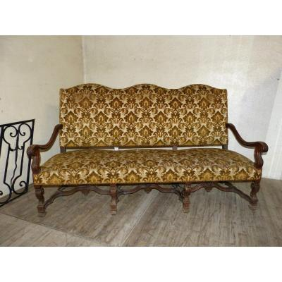 Large 19th Louis XIV Style Sofa In Carved Walnut.