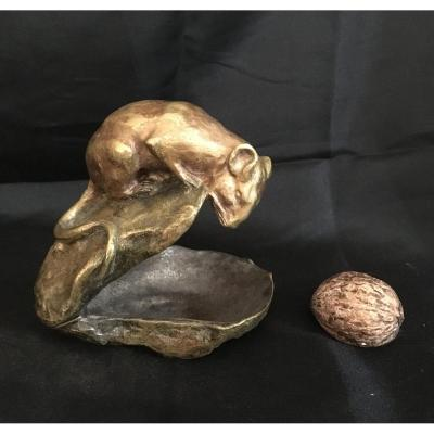 Lucien Dropsy Bronze The Mouse On An Oyster