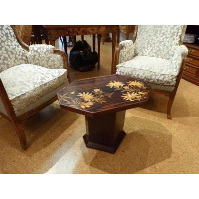 Emile Gallé, Art Nouveau Coffee Table Japanese Decor