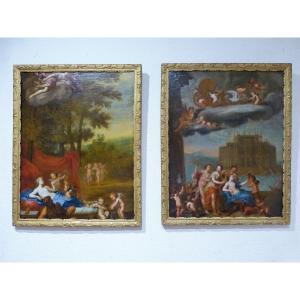 Paire De Grands Tableaux Italie 17ème Mythologique