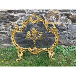 Pare Feu , écran, Pare étincelles Louis XV Bronze Doré