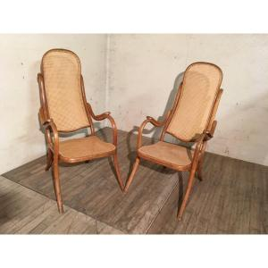 Thonet Pair Of Canned Bentwood Armchairs