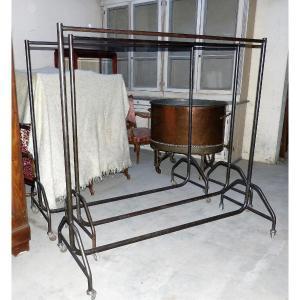 Set Of 3 Raw Iron Cloakroom Racks On Wheels
