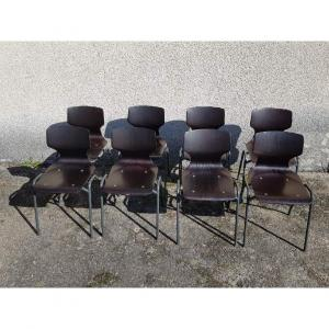 Series Of 8 Pagholz Chairs For Flototto Design