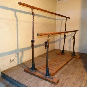 Old Cast Iron And Wood Gymnastics Asymmetrical Bars