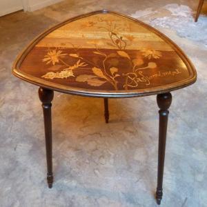 Emile Gallé, Table Guéridon Art Nouveau Marguerite Parlante