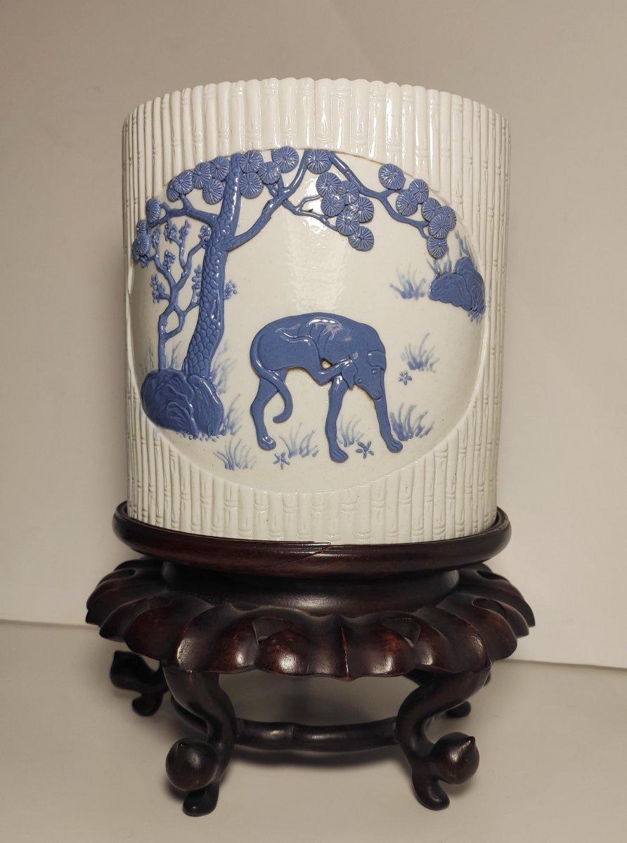 Bitong En Porcelaine Blanc Bleu, Chine, Fin De La Dynastie Qing (1644-1912)