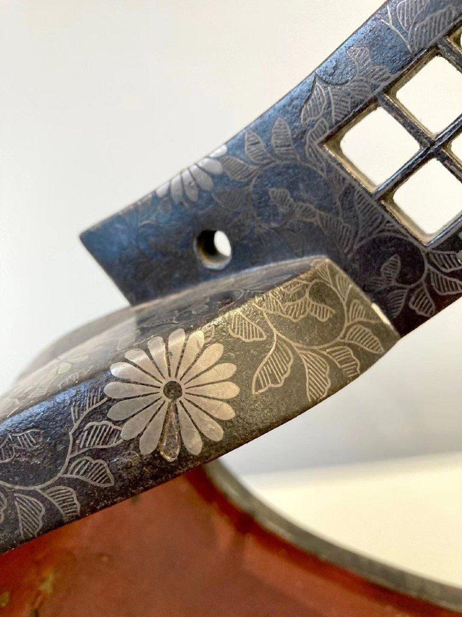 Paire d'Abumi (étriers) En Fer Et Incrustations d'Argent. Japon, XVIIIème -XIXème Siècle-photo-6