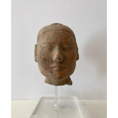 Tête De Stickman En Terre Cuite, Chine, époque Han (206 Bc - 221 Ac)
