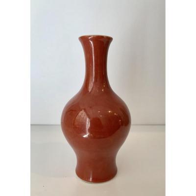 Petit Vase Balustre En Porcelaine Sang De Boeuf, Chine, XIXème Siècle