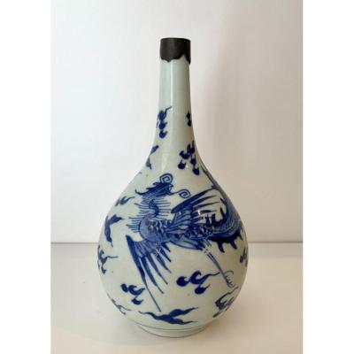 Chinese Blue White Bottle Vase, XVIIth Century, Kangxi