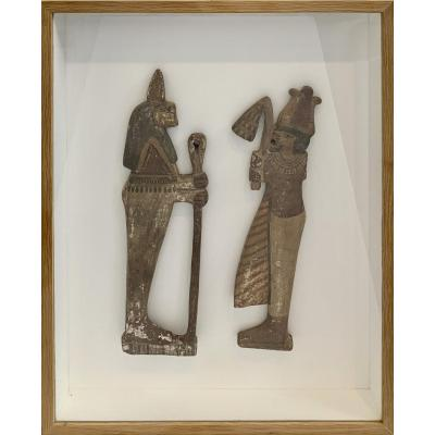 Two Egyptian Carved Woods, Late Period