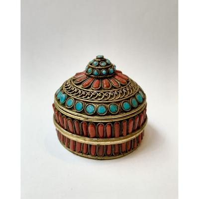 Copper Box Set With Coral And Turquoises, Tibet, XIXth Century