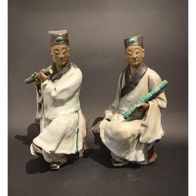 Paire De Musiciens En Terre Cuite Glaçurée. Chine, XIXème Siècle