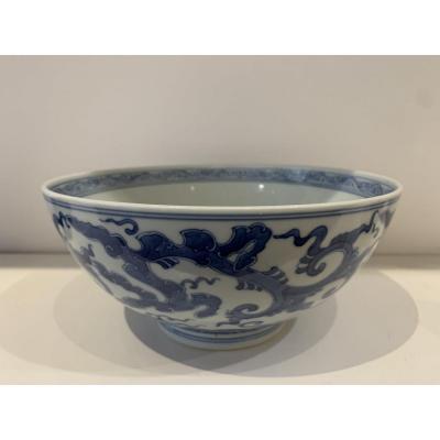 Grand Bol En Porcelaine Blanc Bleu