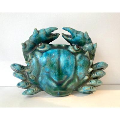 Crab Shaped Wall Vase. Green Enamelled Terracotta. France Or Italy, 1950s