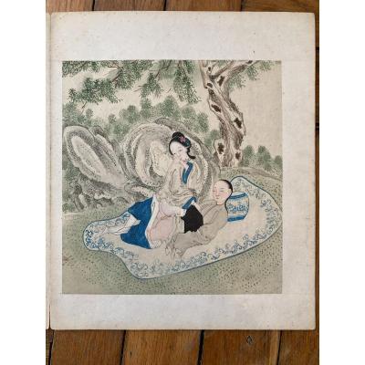 Chine, époque Minguo (1912-1949). Album érotique