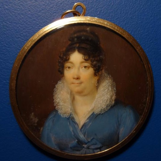 Miniature sur ivoire, portrait de femme, Etienne-Charles Leguay