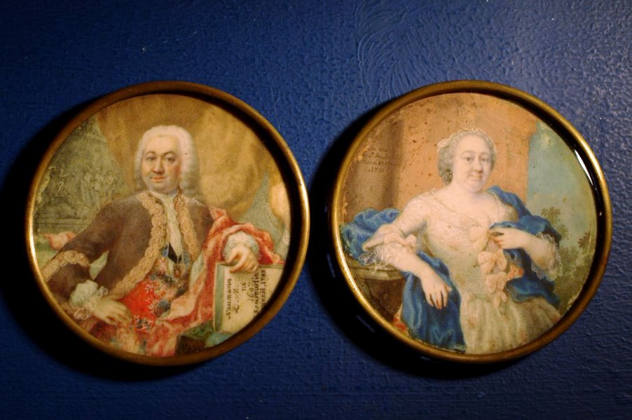 Pair Of Portraits, Miniature By Catherine Remshard, Germany, 1743