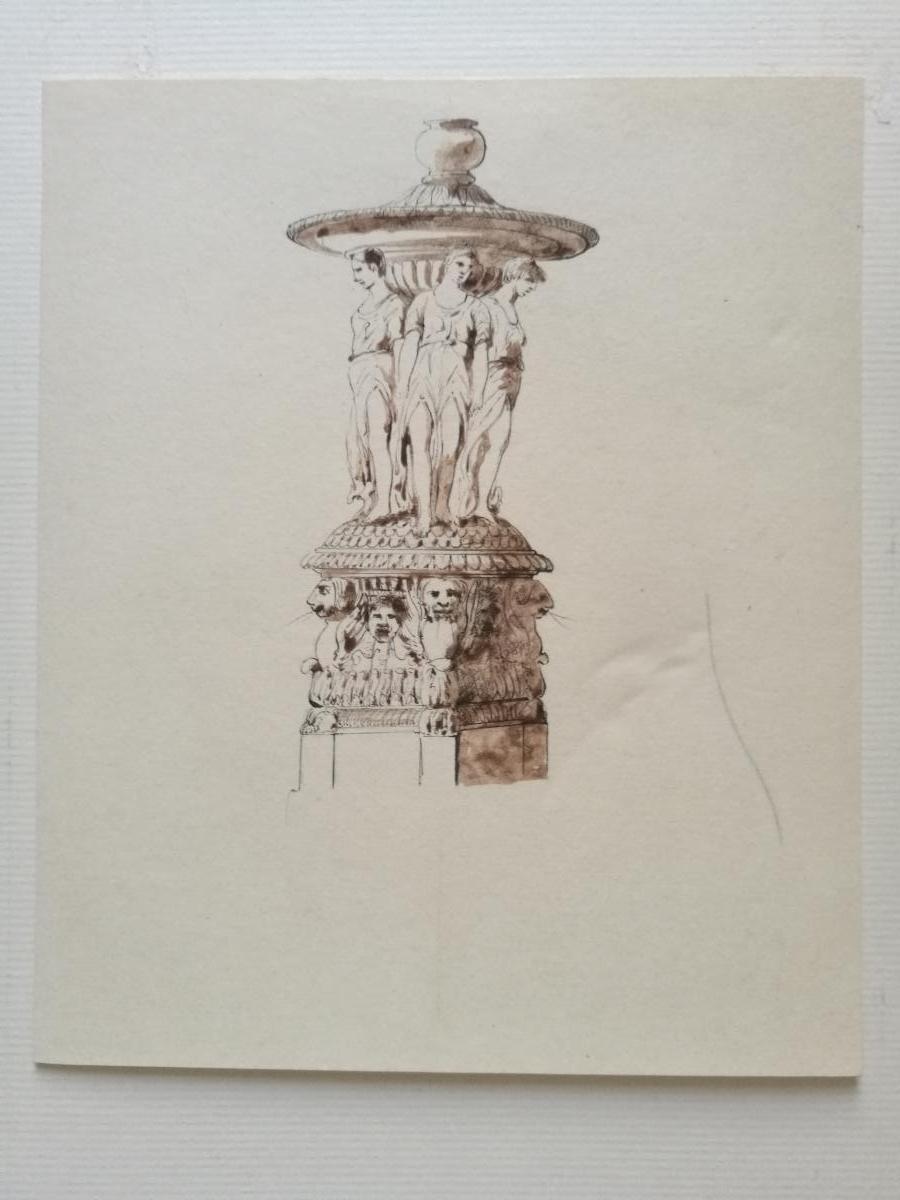 Fontaine, dessin préparatoire de Plantar, vers 1840-1850