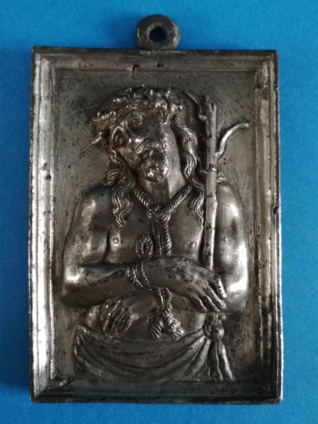 Plaque, Ecce Homo,tin, Spain, 17th Century