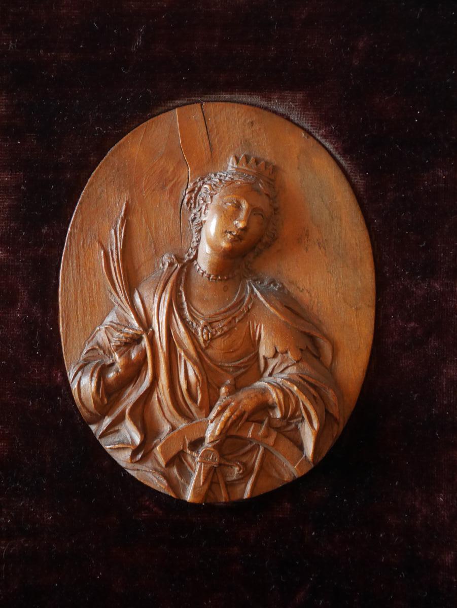 Saint Catherine d'Alexandrie, buis, Flandres, XVIIe siècle