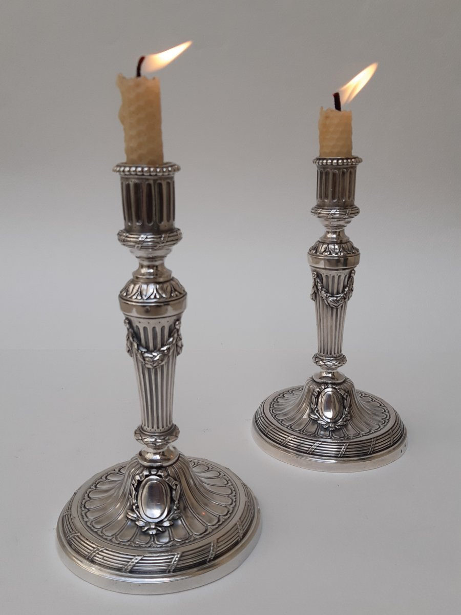Pair Of Silver Candlesticks, Charles Spriman, Paris, 1778-1788