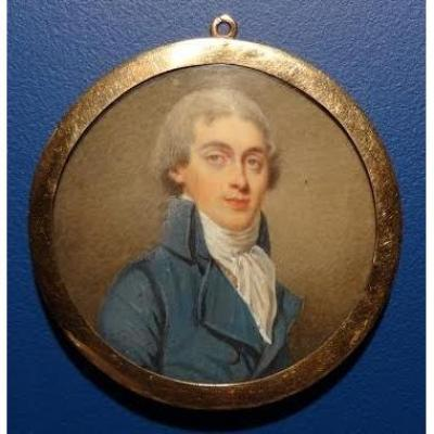 Portrait Miniature, French School, End Of Eighteenth Century