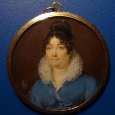 Miniature On Ivory, Portrait Of Woman, Etienne-charles Leguay