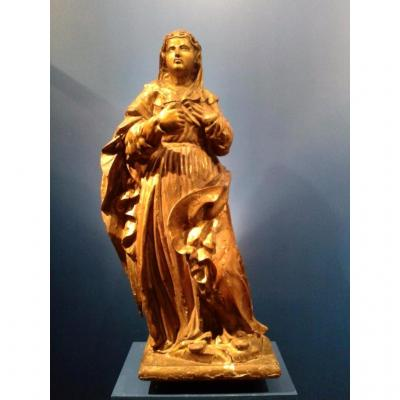 Gilded Wood Statue, St. Mary Magdalena, Provence, XVIIth Century
