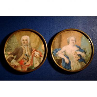 Paire de portraits, miniature par Catherine Remshard, Allemagne, 1743