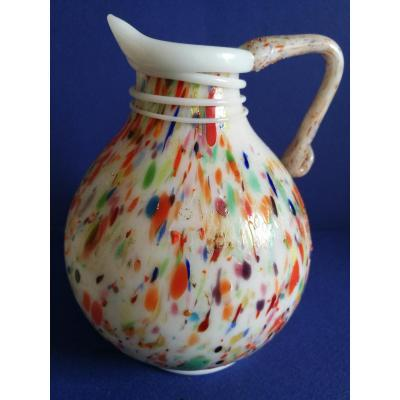 Opaline Glass Pitcher, France, Early XIXth Century
