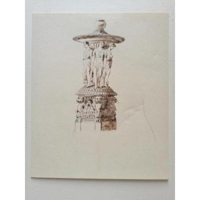 Fountain, Drawing By J-b Plantar, Circa 1840
