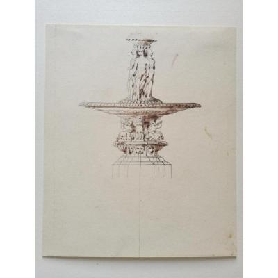 Fountain, Drawing By Plantar, Circa 1840-1850