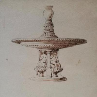 Preparatory Drawing By Platar - Architect - France, 1840-1850