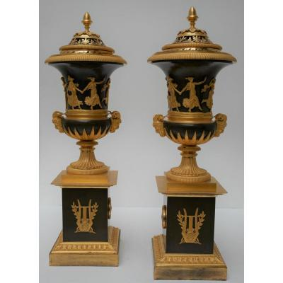 Pair Of Incense Burners, Attr. To Claude Galle, Empire Period