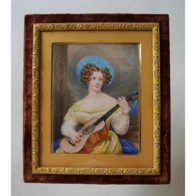 "Miniature: ""elegant With Guitar"", English School, Circa 1830"