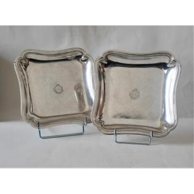 Pair Of Square Dishes, Paris By Dehanne, 1787