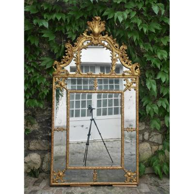 Mirror With Parecloses In Gilded Wood, France,  Early 18th Century