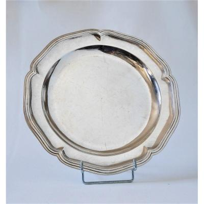 Round Dish, Sterling Silver, Rochefort By The Widow Of Jacques Girard 1775-1781