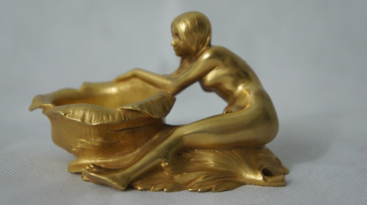Bronze Art Nouveau Femme Signé M. Bouval Fd Colin & Cie