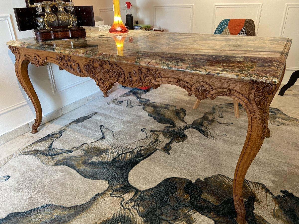 Large Middle Table Regency Style Oak Marble Twentieth Fine Art Cabinet Making