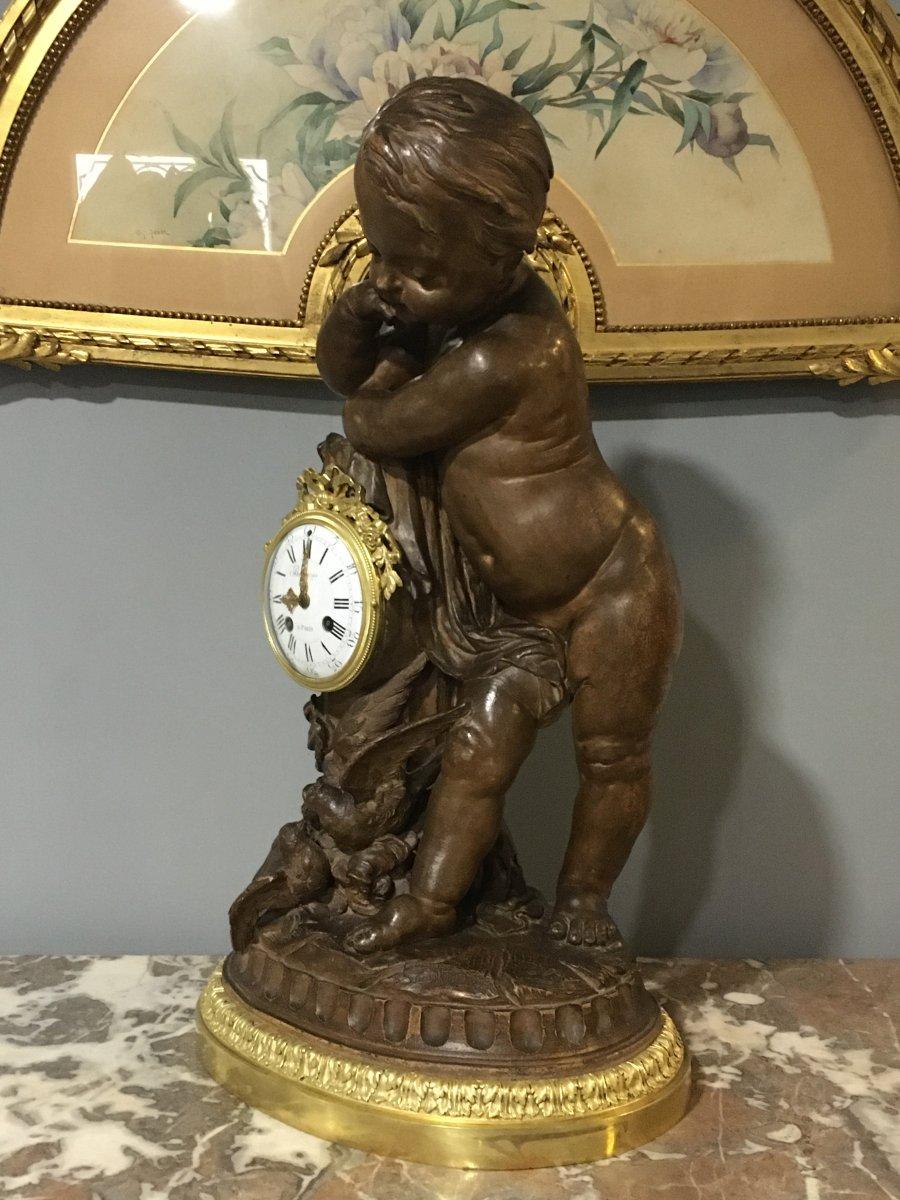 Pendulum Terracotta Putti Louis Sauvageau XIX Signed Bronze 58cm Balthazard-photo-2