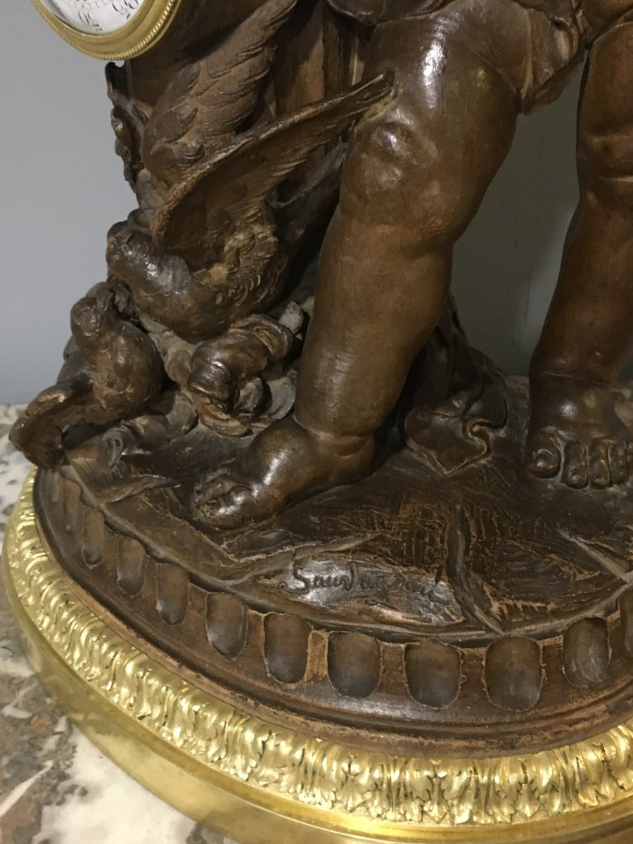 Pendulum Terracotta Putti Louis Sauvageau XIX Signed Bronze 58cm Balthazard-photo-3